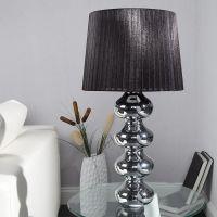 XL Tischlampe DIVA Chrom & schwarzem Organza Schirm 68cm Höhe