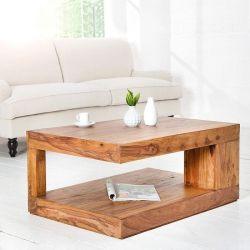 Couchtisch AGRA Sheesham massiv Holz gewachst 90cm x 60cm