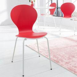 Stuhl JACOBSEN zweifarbig Weiß-Rot
