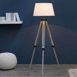 Stehlampe CUP Weiß mit Dreibein-Gestell Natur aus Kiefernholz 100-145cm Höhe