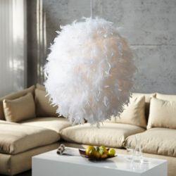 Hängelampe BOA Weiß Kugel mit echten Federn 50cm Ø