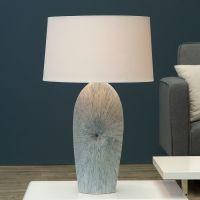 XL Tischlampe CAPIZ Weiß mit beige-blauem Keramikfuß in Muschelform 70cm Höhe