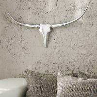 Deko Stierkopf Schädel ARIZONA Silber aus poliertem Aluminium 75cm Länge