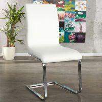 Freischwinger ENZO Weiß aus Kunstleder