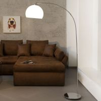 Bogenlampe LUXX Weiß mit Chromfuß 160cm Höhe