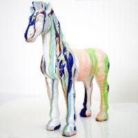 Deko Skulptur Pop Art Pferd STALLION Bunt aus Kunststein handbemalt 15cm x 25cm