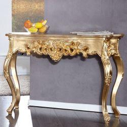 Romantische Konsole FLORENCE Gold Antik in Barock-Design 110cm x 35cm
