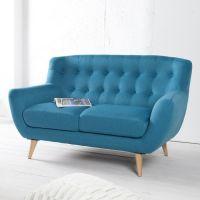 Retro 2er Sofa GÖTEBORG Petrolblau-Eiche im skandinavischen Stil