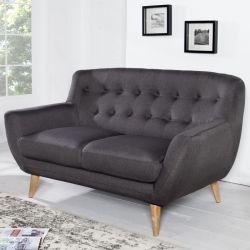 Retro 2er Sofa GÖTEBORG Anthrazit-Eiche im skandinavischen Stil