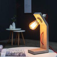 Tischlampe URBANO Grau in geknickter L-Form aus einem Block Feinbeton 30cm Höhe