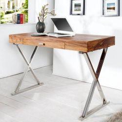 Schreibtisch LONDON Sheesham massiv Holz gewachst mit Schublade & Gestell Chrom 120cm