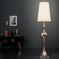 Stehlampe SCARLET Weiß mit Standfuß aus Rosegold glänzendem Metall 160cm Höhe