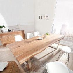 Esstisch AMBA Natur massiv Akazienholz 220cm & 60mm Tischplatte