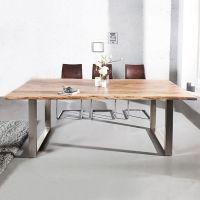 Esstisch AMBA Natur massiv Akazienholz 200cm & 35mm Tischplatte