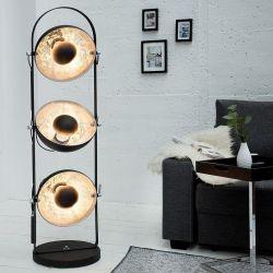 3er Stehlampe SPOT Schwarz-Silber 130cm Höhe
