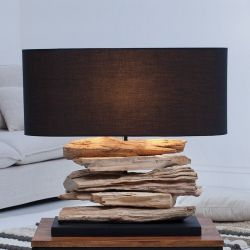 Tischlampe TIMOR Schwarz aus Treibholz handgefertigt 55cm Breite