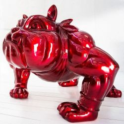 XXL Deko Skulptur Bulldogge BUDDY Rot aus Fiberglas handbemalt 140cm x 150cm