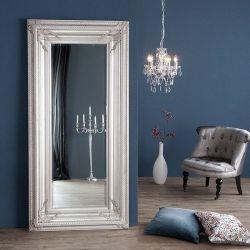 XXL Romantischer Wandspiegel VERONIQUE Silber Antik in Renaissance-Design 180cm x 85cm