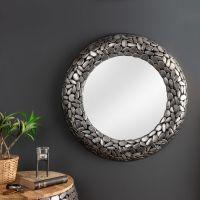Wandspiegel RAVENNA Silber aus Metallplättchen im Mosaik-Design handgefertigt 82cm Ø