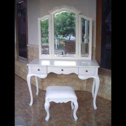 Mahagoni Frisiertisch CHIARA Weiß inkl. 3er Spiegel & Hocker 120cm