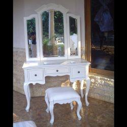 Mahagoni Frisiertisch LIA Weiß inkl. 3er Spiegel & Hocker 110cm