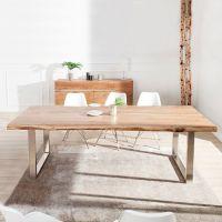 Esstisch AMBA Natur massiv Akazienholz 200cm & 60mm Tischplatte