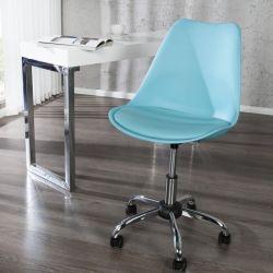 Retro Bürostuhl GÖTEBORG Türkis & Chromgestell im skandinavischen Stil