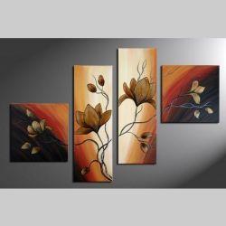 4 Leinwandbilder MAGNOLIA (5) 100 x 70cm Handgemalt