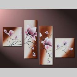 4 Leinwandbilder MAGNOLIA (6) 100 x 70cm Handgemalt