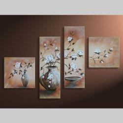 4 Leinwandbilder MAGNOLIA (7) 100 x 70cm Handgemalt