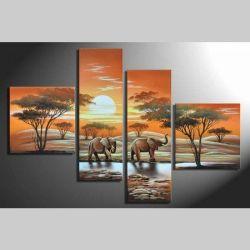 4 Leinwandbilder AFRIKA Elefant (1) 100 x 70cm Handgemalt