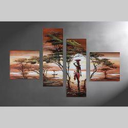 4 Leinwandbilder AFRIKA Frau (1) 100 x 70cm Handgemalt