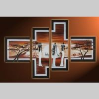 4 Leinwandbilder AFRIKA Frau (2) 100 x 70cm Handgemalt