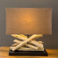 Tischlampe KULIM Braun aus Treibholz handgefertigt 40cm Höhe