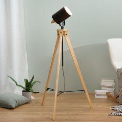 Stehlampe STUDIO Schwarz mit Gestell aus Kiefernholz 145-195cm Höhe