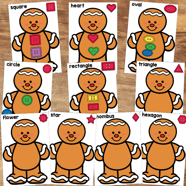 Gingerbread Shape Button Sorting