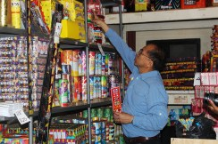 Mr Pong in his firework shop