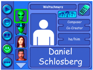 Performer card of Daniel Schlosberg, Composer and Co-Creator