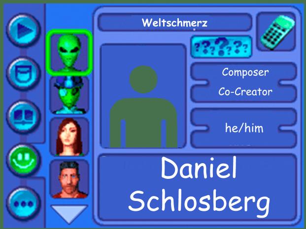 Performer card of Daniel Schlosberg, Composer and Co-Creator