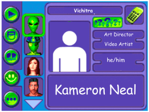 Performer card of Kameron Neal, Art Director and Video Artist