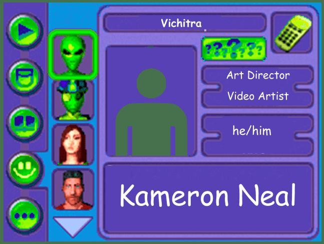 Performer card of Kameron Neal, Art Director and Video Artist