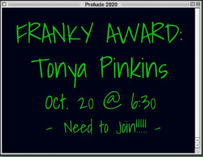 Franky Award for Tonya Pinkins. October 20 at 6:30pm. Need to join!