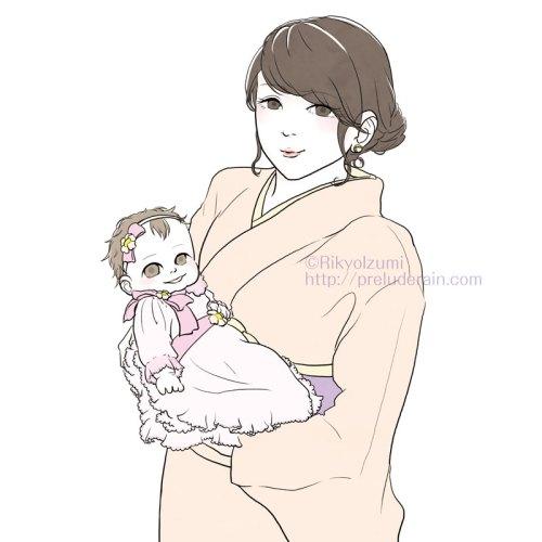 赤ちゃんを抱っこした着物女性のイラスト