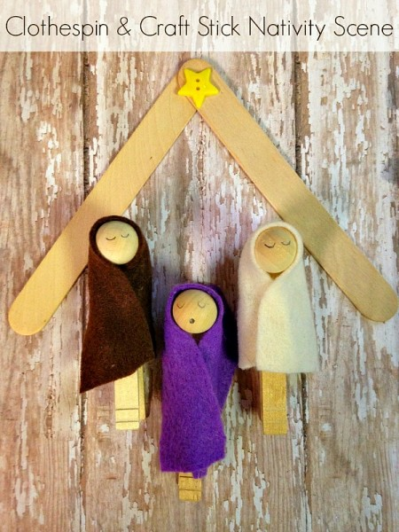 DIY Clothespin Nativity Scene Tutorial with a Popsicle