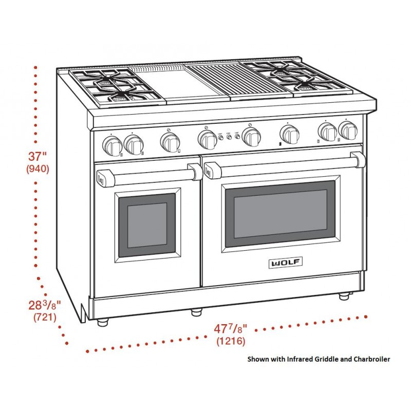 Wolf GR486C 48 Inch Pro-Style Range with 6 Burners,Grill