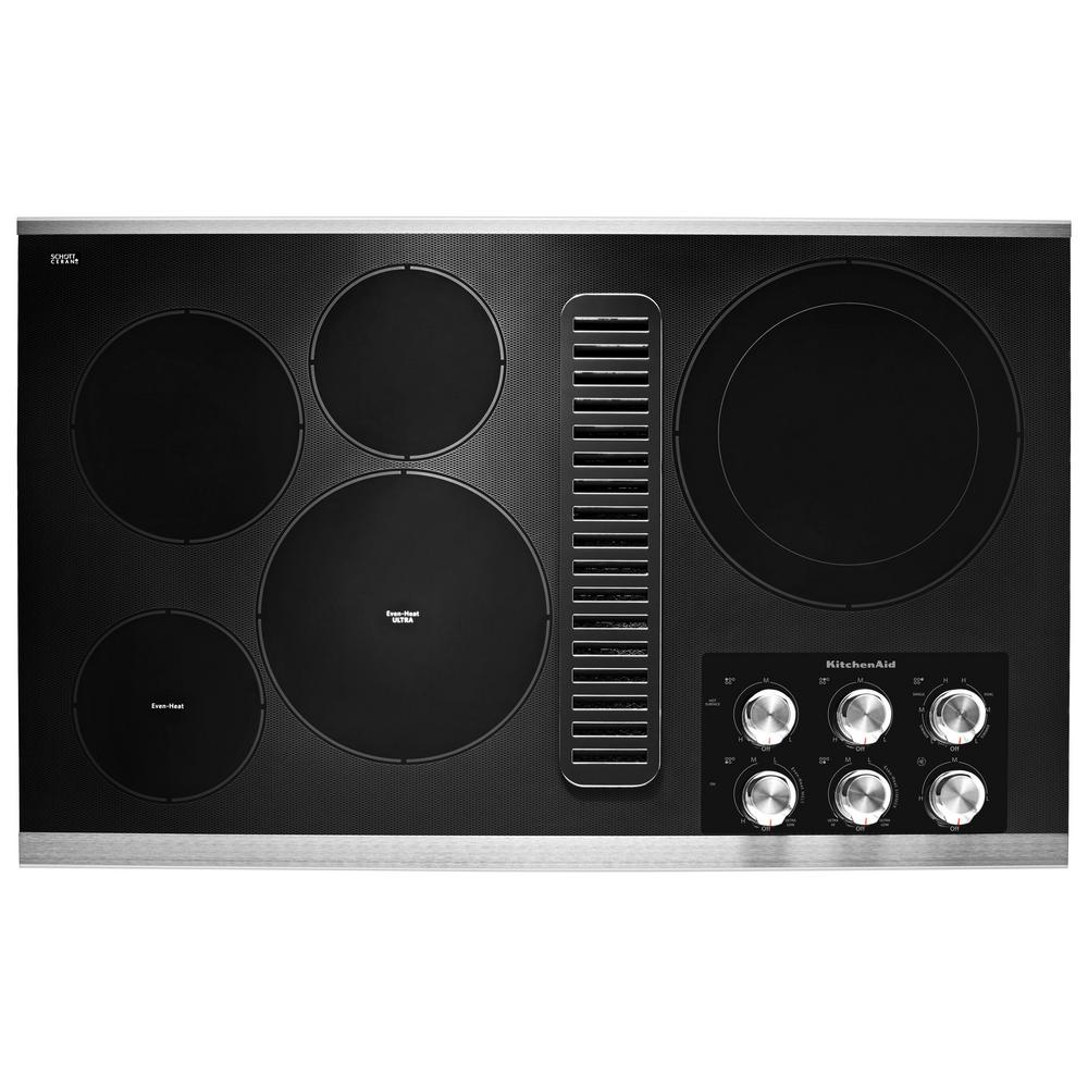 KitchenAid KCED606GSS 36 In Electric Downdraft Cooktop In