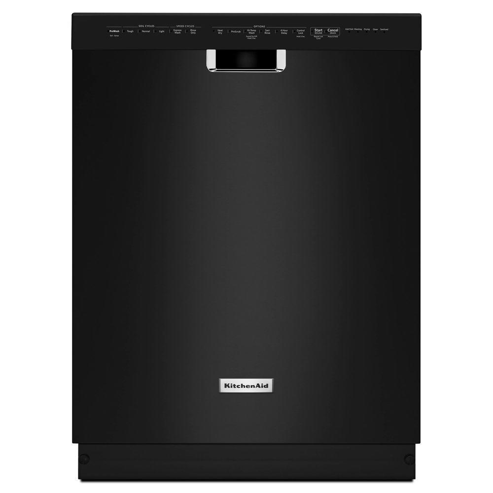 KitchenAid KDFE204EBL 24 In Front Control Dishwasher In Black With Stainless Steel Tub