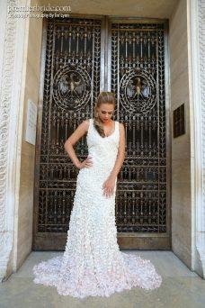 gorgeous wedding dress with pink bottom