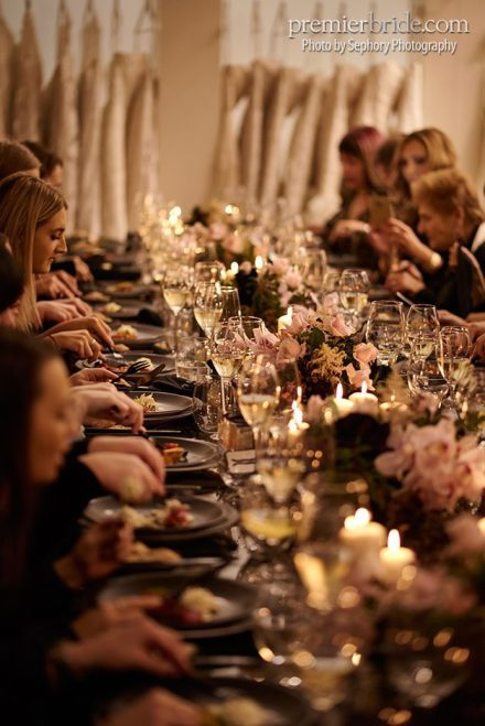 warm and inviting lunch celebrating launch of wedding gown line