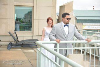 Bride's first look on Philadelphia shore